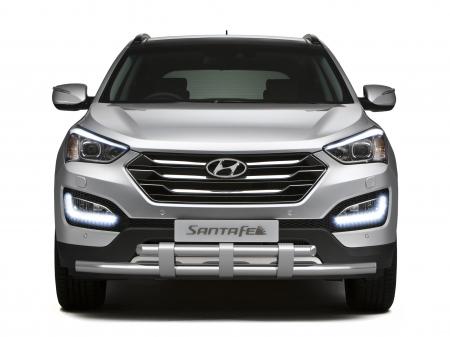 Защита переднего бампера двойная с пластинами d63мм Hyundai Santa Fe (нерж) 2013